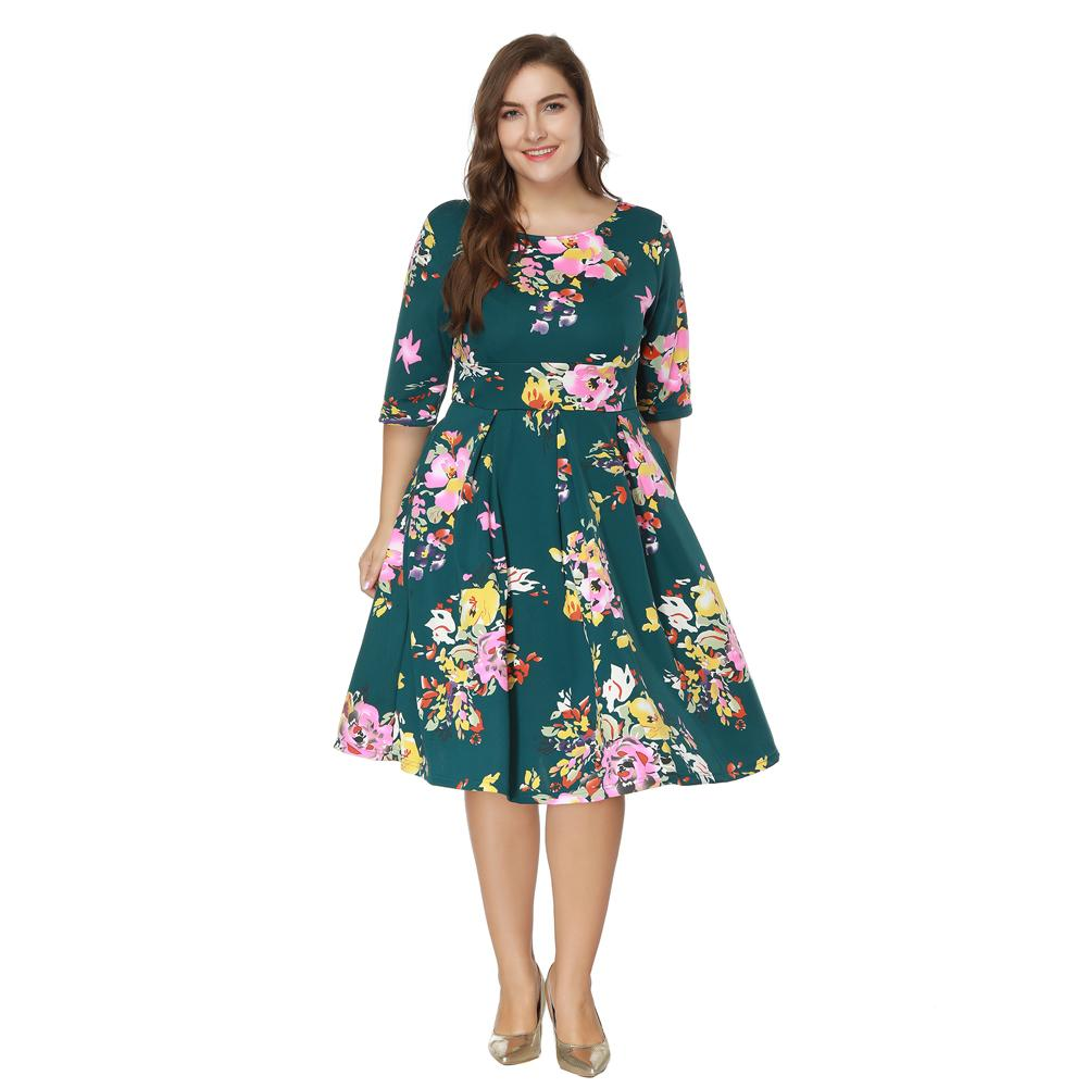 4a9d1e0beb0 5XL 6XL 7XL Plus Size Dress Women Vintage Floral Print Swing Dress O Neck  Half Sleeve High Waist Back Zip A Line Pleated Dress Sweater Dresses Lace  Dresses ...