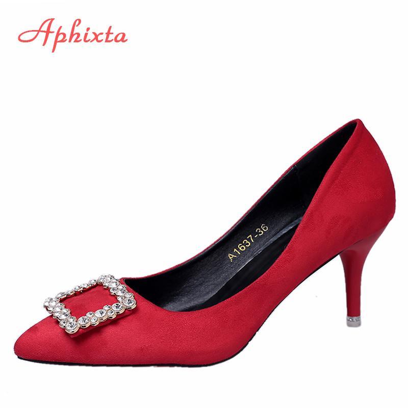 20112252a Compre Aphixta Luxo Bombas Mulher Strass Fino Salto Alto Sapatos De  Senhoras De Cristal Apontou Toe Sapatos De Casamento Moda Mulheres Rasa De  Deal8, ...