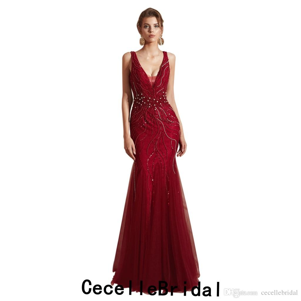 c7ea7f55cf311c 2019 Latest Dark Red Mermaid Long Women Evening Dress 2019 Deep V Neck  Sleeveless Sexy Beading Women Luxury Evening Party Gowns Custom Made  Evening Dresses ...