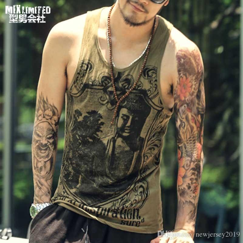 8987db7809d6f Men Singlet Tank Tops Bodybuilding Undershirt Printed Summer Gold ...