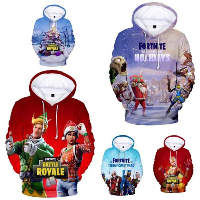 2019 Game Fortnite Christmas 3d Hoodies Xmas Tree Snow Game Print