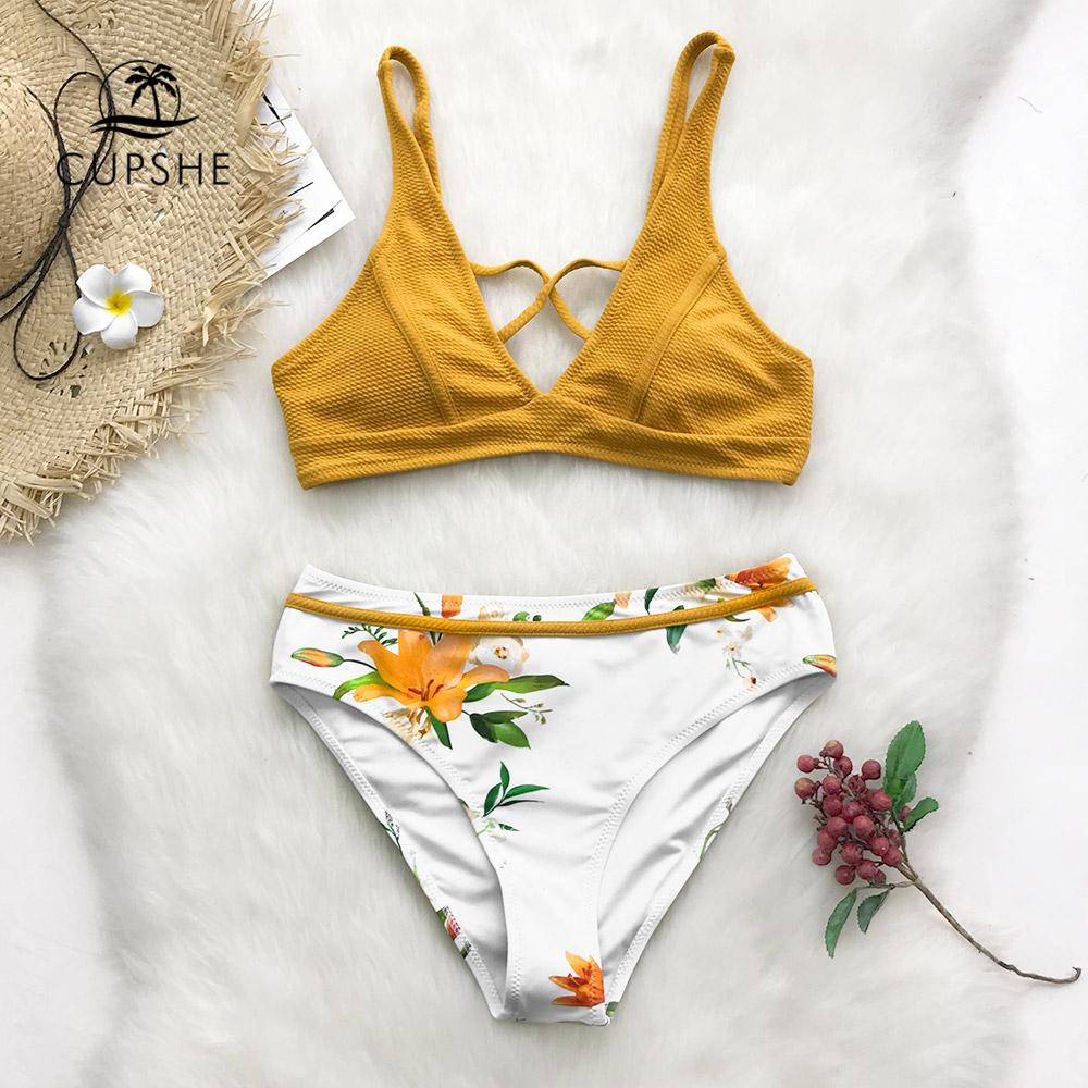 455e0dde30291 2019 CUPSHE Yellow Floral Print Bikini Sets Women Cross Triangle Two Pieces  Swimsuits 2019 Girl Sexy Bathing Suits Swimwear From Missher, $27.6 |  DHgate.Com