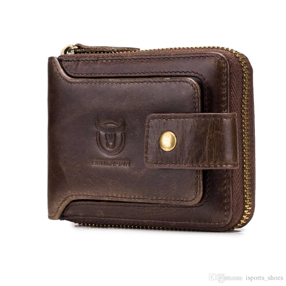 BULLCAPTAIN Men Genuine Leather RFID Wallet Male Organizer Coin Short Purse Pockets Slim Fashion Zipper Clamp Card Holder #302641