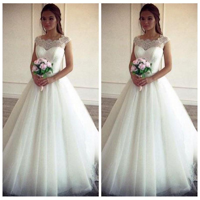compre vintage simple 2019 una línea de vestidos de novia vintage