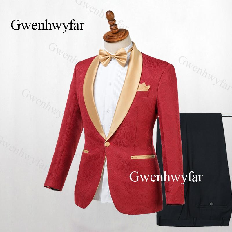 Gwenhwyfar Red Jacquard Blazer Men Suit Set For Wedding Prom Formal Mens Suits Gold Lapel Tuxedos 2 Pieces 2019