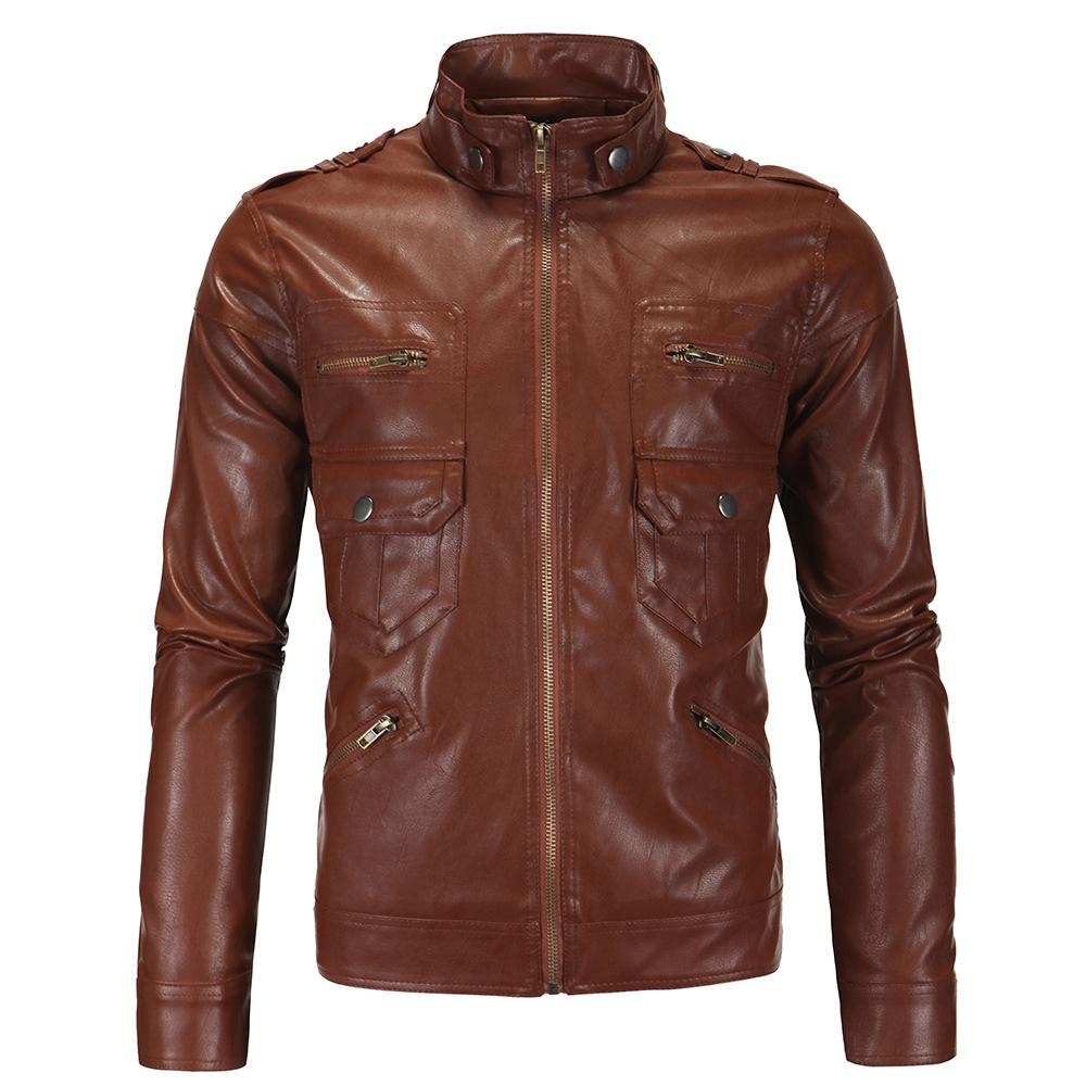 Aowofs New Style Men'S Wear Europe And America MEN'S Leather Jacket England Stand Collar Locomotive Leather Coat Foreign Trade W