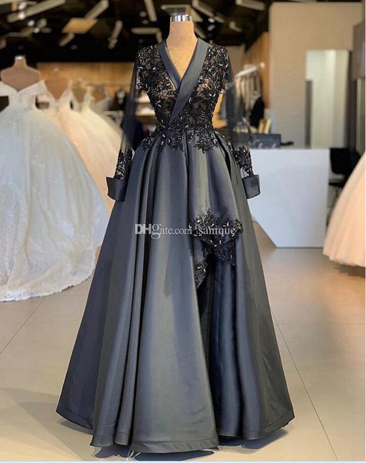 Weddings & Events Black Lace Arabic Evening Dress V Neck Applique Formal Evening Gowns Robe De Soiree 2019 Hot Sale Beadeds Kaftans Prom Dresses