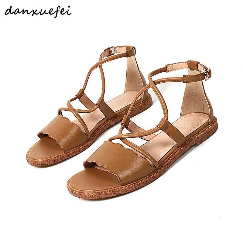 90910d833f6dc Women S Cross Strap Flats Sandals Brand Designer Open Toe Summer Leisure  Ballerians Sandalias Genuine Leather Ankle Buckle Shoes Skechers Sandals  Sexy Shoes ...
