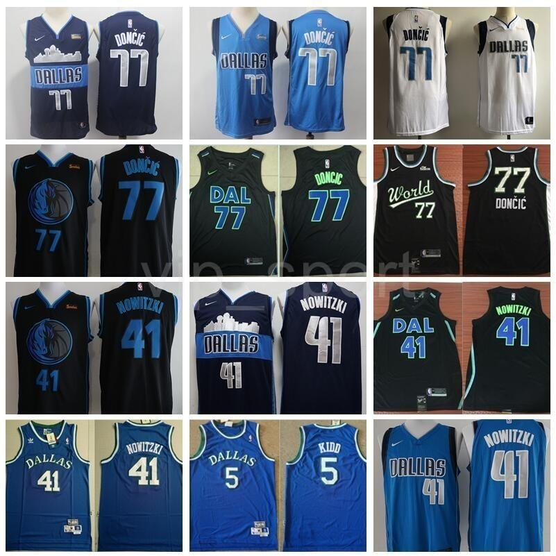 los angeles 0060e 36685 All 2019 Star Luka Doncic Jersey Dallas Basketball Mavericks Dirk Nowitzki  Jason Kidd Edition City Navy Blue White Black Shirts Uniform