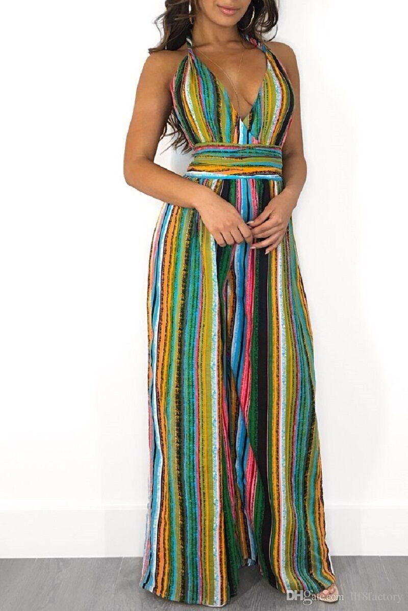 4b175d807cd1 New Design Sexy Halter Strap Hanging Neck Jumpsuit Fashion Color ...