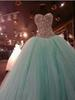 Real Image Mint Green Crystal Quinceanera Dresses Ball Gown 2018 Sweet 15 Dress Sweetheart Vestido De Festa Long Tulle Formal Prom Gowns