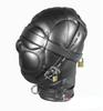Leather Sex Headgear sensory deprivation bondage hood hat with Locking Buckles Sex Headgear With Lock J1805