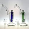 Unique Heady Glass Bong Double Matrix Percolator Blue Green Glass Bongs Water Pipes Oil Dab Rigs 18.8mm Joint With Ceramic Nail WP109