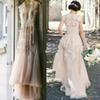 2016 Vintage Blush pink A-Line Tulle country Wedding Dresses Sheer V Neck Applique Floor Length Custom Made Plus Size Bridal Gowns Cheap