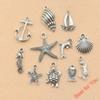 110Pcs Mixed Tibetan Silver Plated Anchor Starfish Shell Mermaid Dolphin Turtle Charms Pendants for Jewelry Making DIY Craft Accessories