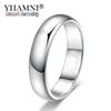 YHAMNI Lose Money Promotion Real Pure White Gold Rings For Women and Men With 18KGP Stamp 5mm Top Quality Gold Color Ring Jewelry BR050