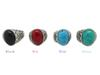 12Pcs Women's Turquoise Stone Rings Gemstone Antique Silver Rings With Four Color Men Vintage Resin Simulated Turquoise Stone