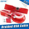 ZZYD 1.5M 5FT Braided USB Micro Charger durable type C Cable For Samsung HTC Sony LG Phones With Metal Head Plug