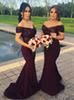 Sequined Top Mermaid Burgundy Bridesmaid Dresses 2019 Off The Shoulder Floor Length Satin Maid Of Honor Dresses For Wedding Party