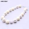 MSH.SUN 2pcs Chunky White beads Necklace Resin rhinestone beads Necklace Bubblegum neck jewelry for Kids BN086