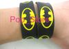 Wholesale 50 pcs   lot BATMAN Wristband Silicone Promotion Gift Filled in Color Bracelet Black