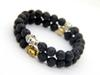 New Design Men's Beaded Energy Lava Stone, Antique Silver and Gold Buddha bracelet, Best price, Best Selling Gift Jewelry