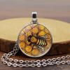 Glass Cabochon Pendant Necklace Women 2018 New Arrival Bronze 1PC Adjustable Korean Black Allergy Free Bee Men Silver
