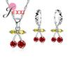 Jemmin Party Gift Colorized Crystal Women Jewelry Sets 925 Sterling Silver Necklace Earrings Cherry Design Dangle Pendants