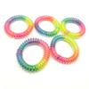 5.5cm Shiny RainBow Telephone Hair Cord Ponies Elastic Soft Flexible Plastic Spiral Coil Wrist Bands Girls Hair Accessories Rubber Ties