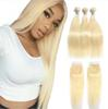 "10a Brazilian Virgin Hair #613 Blond 3 Bundles with 4""*4"" Closure Top Lace Closure and Bundles Silk Straight Hair Bundles and Frontal"