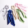 INS 10 colors Vintage Hair Scrunchies Bow Women Accessories Hair Bands Ties Scrunchie Ponytail Holder Rubber Rope Decoration Satin Bow