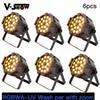 6pcs Free Shipping RGBWA-UV Stage Wash PAR Stage Light With Zoom 18W*18 LED Wash light DMX Par Can w zoom