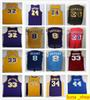Retro Kobe 8 Bryant 24 Yellow Purple Magic 32 Johnson Jerry 44 West Kareem 33 Abdul-Jabbar Shaquille 34 O'Neal Jerseys College Basketball