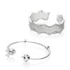 NEW 100% 925 Sterling Silver New597704CZ LACE OF LOVE BANGLE 597494 Cartoon Fairy Tale Classic Open Bracelet Original