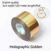 Holographic Gold-três centímetros de largura * 120 metros