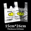 15x26cm smiley face vest PE plastic packaging tote market shopping bag