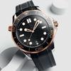 Rubber Strap Rose Gold Stainless Steel Men Automatic Luxury Mens Watches Designer Watch Professional Diver 300M Master NATO WristWatches