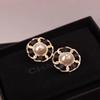Top Brand name earring round shape with black or red leather stud Earring 18k gold plated style women jewelry gift PS7432