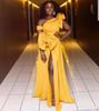 Yellow High Split Prom Dresses South African Ruffles Off Shoulder Evening Gowns Zipper Back Floor Length Cocktail Party Dress