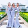 Waishidress Mermaid Bridesmaid Dresses Sweetheart Neckline Long Sleeves Lace 3D Flowers Floor Length Wedding Guest Gowns