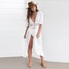 Swimsuit Cover Up 019 Women Sexy Beach Cover-Ups Chiffon Long Dress Solid Beach Cardigan Bathing Suit Cover Up #1