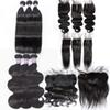 8A Brazilian Virgin Human Hair Weaves 3 Bundles With Lace Closure Or Lace Frontal Remy Human Hair And Closures 4x4 Size