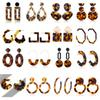 New Designer Tortoise Color Leopard Print Acrylic Acetic Acid Sheet Geometric Circle Square Long Drop Earrings Hot Animal Ear Stud for Women