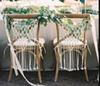 Macrame Wedding Chair Decor Handmade Woven Cotton Cord Bohemian Bride and Groom Chair Back Hanger Macrame Wall Hanging Decorative
