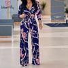 Multicolor Printed Boho Jumpsuit Beach Flower Print Sexy V-neck Wide Leg Rompers Elegant Women Jumpsuitd Long Overalls 2018 MX190726
