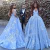2019 Blue V-Neck Ball Gown Quinceanera Dresses Applique Off The Shoulder Backless 15 Years Birthday Party Sweep Train Prom Dress Plus Size
