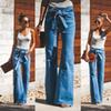 Womens Bell Bottom Pants High Waist Skinny Denim Jeans Wide Flared Long Trousers