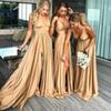2019 Gold Long Bridesmaid Dresses Cheap Sexy Deep V Neck Empire Split Wedding Guest Sweep Train Maid of Honor Party Dresses