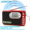 JINSERTA FM AM SW Radio Receiver Mini Stereo Speaker MP3 Player Support U Disk TF Card Play with USB Cable Headphone Jack