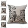 Black Sketch Church House Pillow Case Cushion Cover Linen Cotton Throw Pillowcases Sofa Car Decorative Pillowcover drop ship PW561